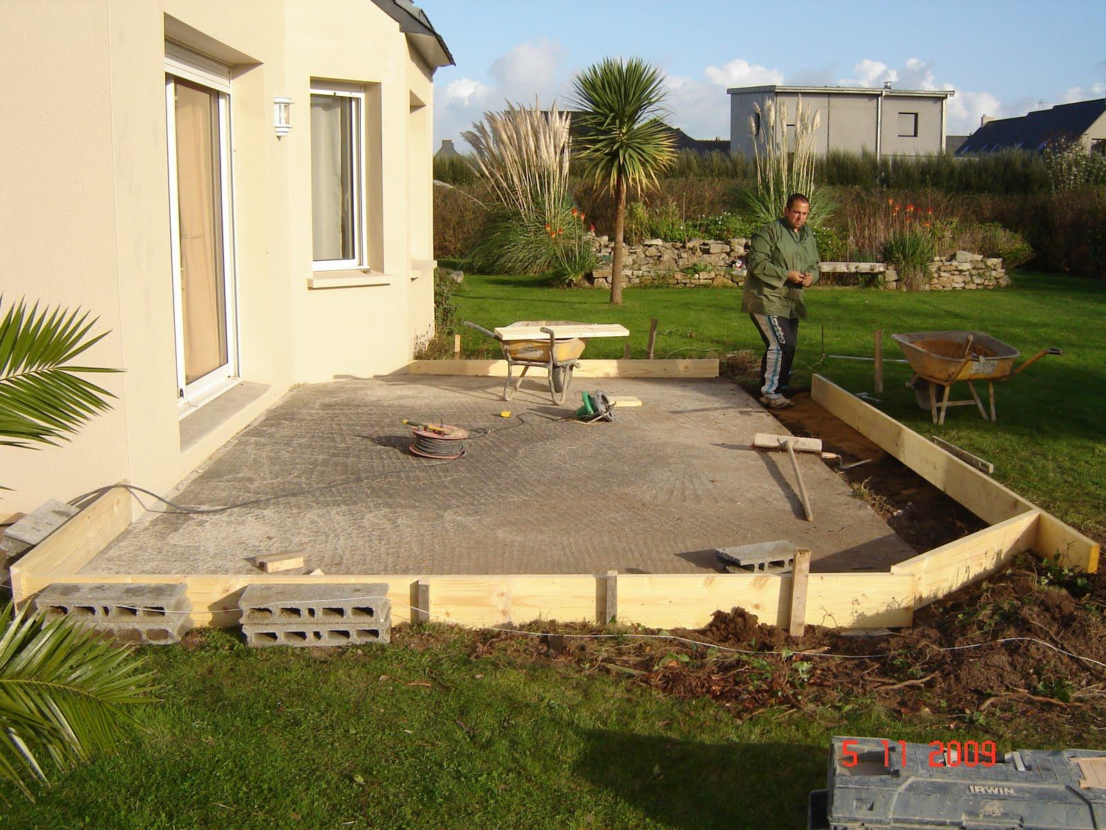 dalle beton veranda construction groes oeuvre